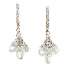 Julius Cohen Diamond Briolette Earrings in 18 Karat Gold