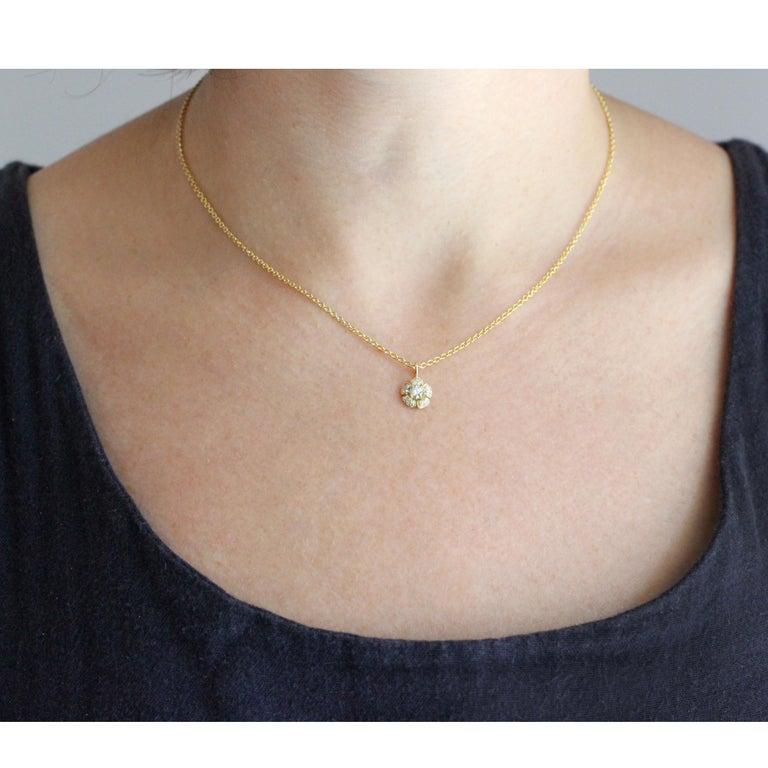 Round Cut Julius Cohen Diamond Flower Pendant Necklace For Sale