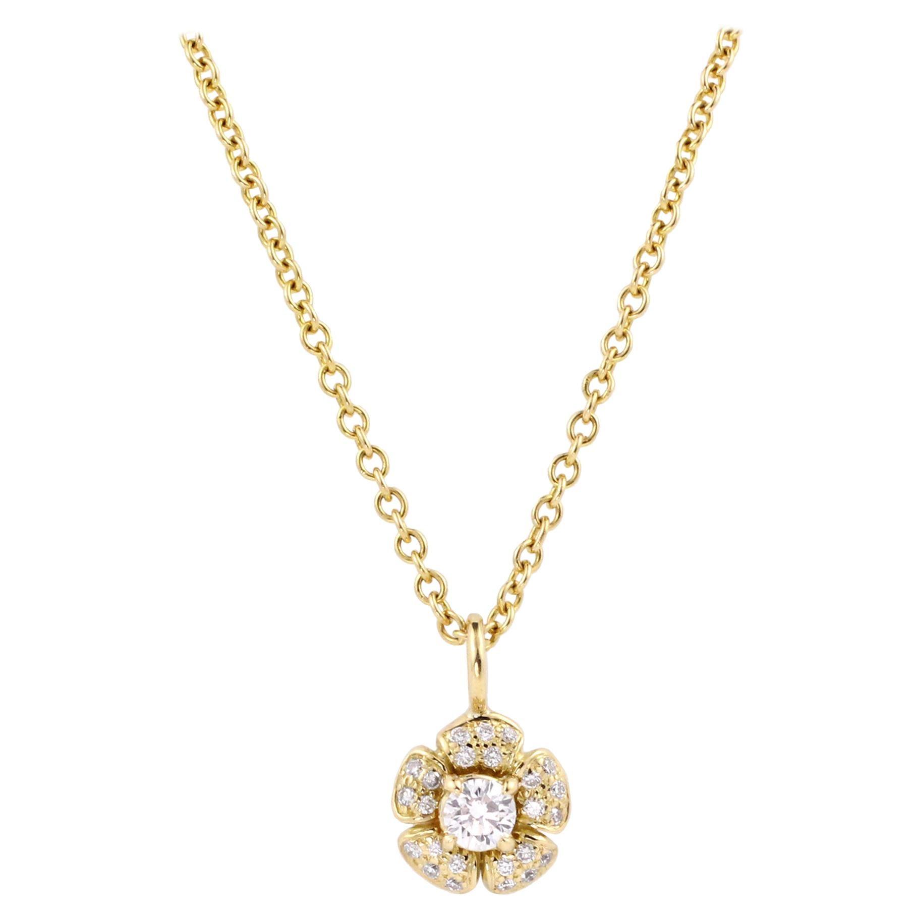Julius Cohen Diamond Flower Pendant Necklace