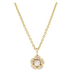 Julius Cohen Diamond Flower Pendant Necklace