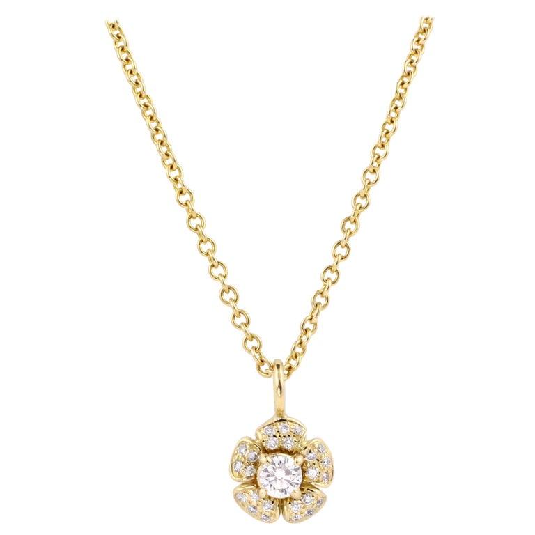Julius Cohen Diamond Flower Pendant Necklace For Sale