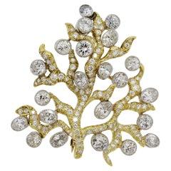 Julius Cohen Diamond Gold Tree-of-Life Brooch