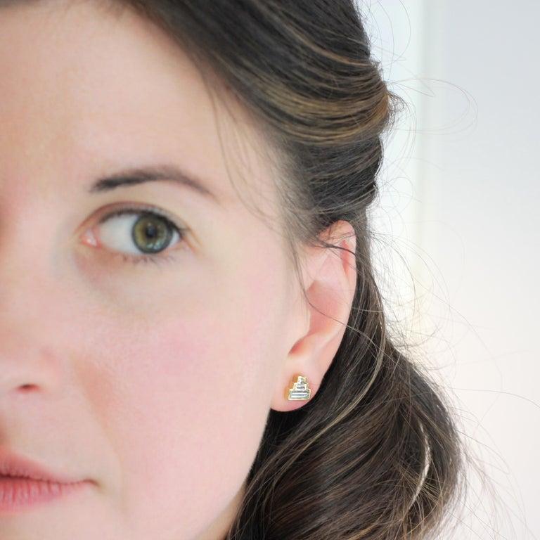 Contemporary Julius Cohen Diamond Pyramid Earrings For Sale
