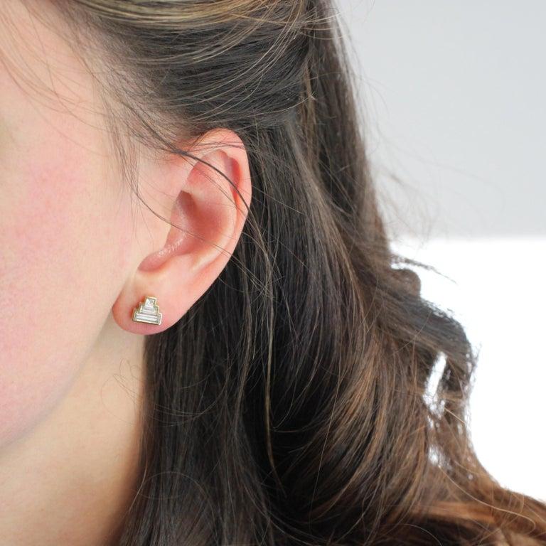 Baguette Cut Julius Cohen Diamond Pyramid Earrings For Sale