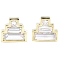 Julius Cohen Diamond Pyramid Earrings