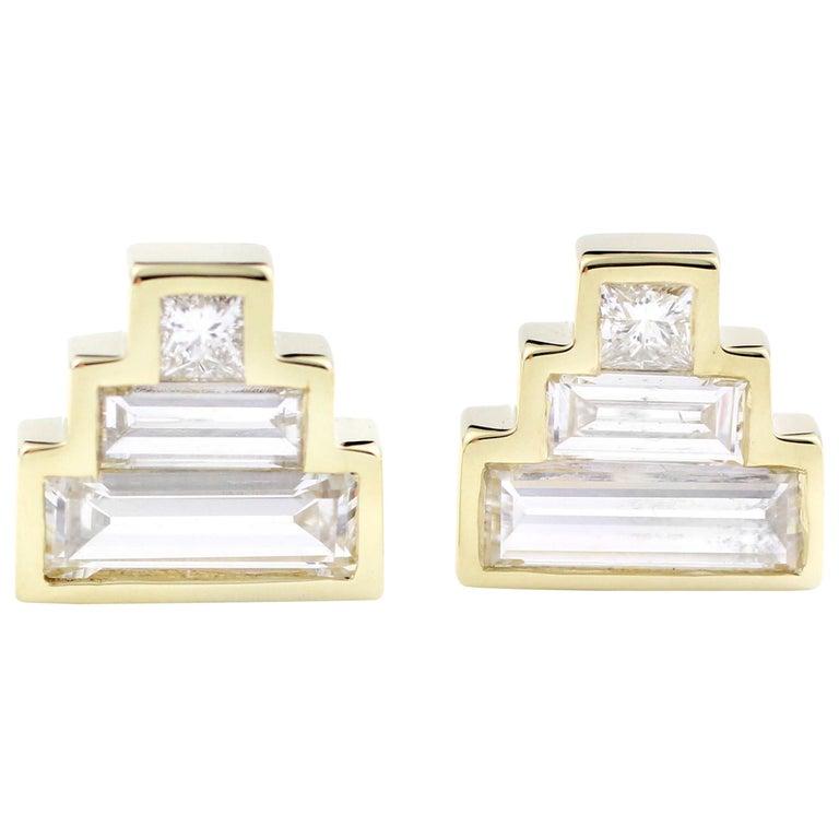 Julius Cohen Diamond Pyramid Earrings For Sale