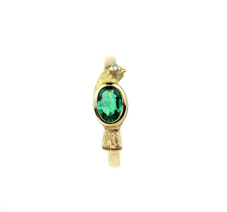 Contemporary Julius Cohen Emerald Bird Ring