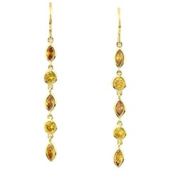 Julius Cohen Fancy Vivid Yellow Diamond Drop Earrings