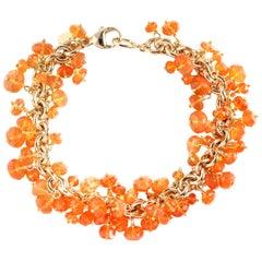 Julius Cohen Fire Opal Bead Bracelet in 18 Karat Gold