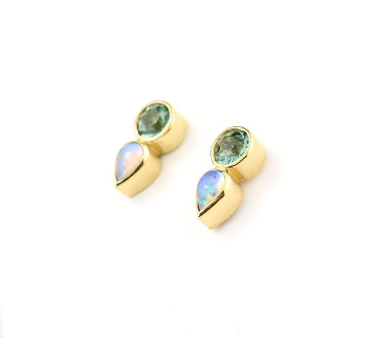 Contemporary Julius Cohen Mint Tourmaline and Opal Earrings For Sale