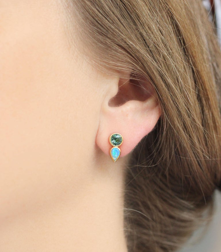 Round Cut Julius Cohen Mint Tourmaline and Opal Earrings For Sale