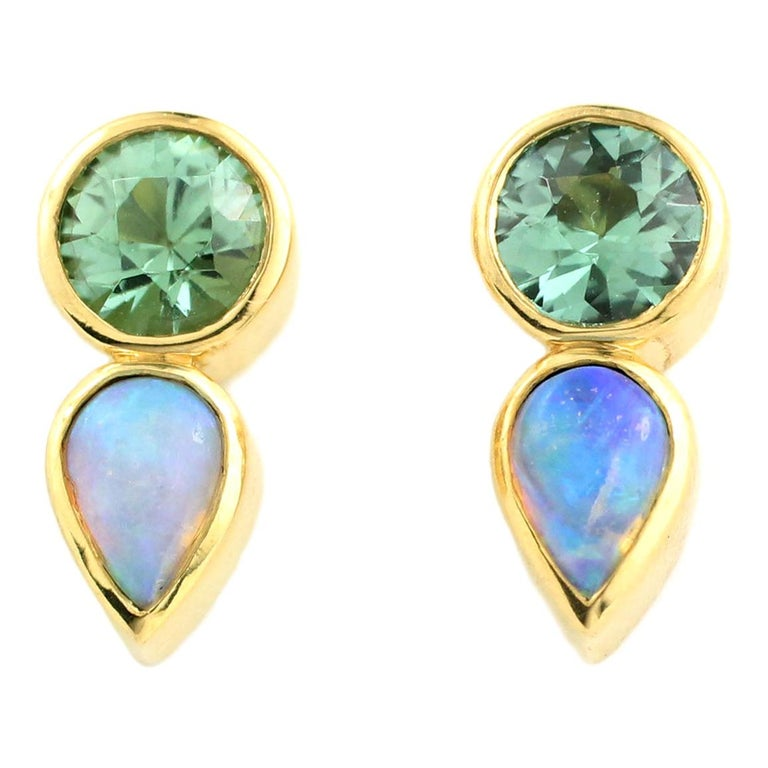 Julius Cohen Mint Tourmaline and Opal Earrings For Sale