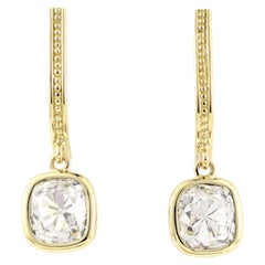 Julius Cohen Old Mine Cushion Diamond Earrings in 18 Karat Gold