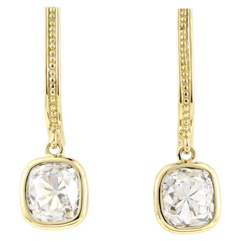 Julius Cohen Old Mine Cushion Diamond Earrings in 18 Karat Gold For Sale