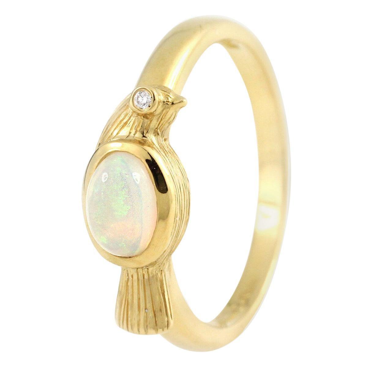 Julius Cohen Opal Bird Ring in 22 Karat Gold
