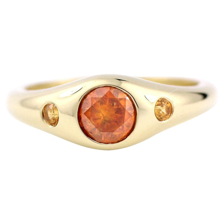 Julius Cohen Orange Diamond and Sapphire Ring in 18 Karat Gold For Sale