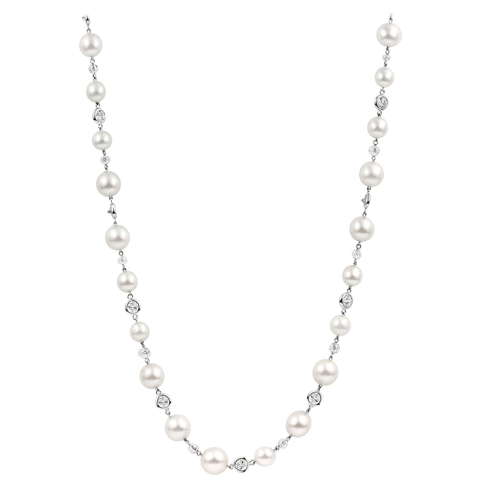 Julius Cohen Pearl and Diamond Necklace