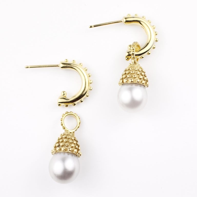 These 18 Kt Gold and Pearl Drop Earrings have real presence and are in the classic