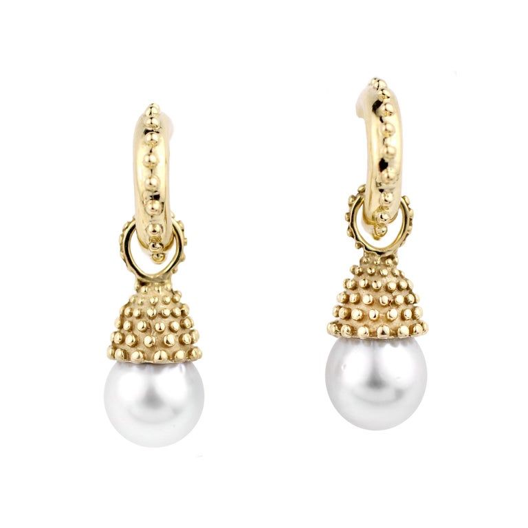 Julius Cohen Pearl Drop Earrings In New Condition For Sale In Brooklyn, NY