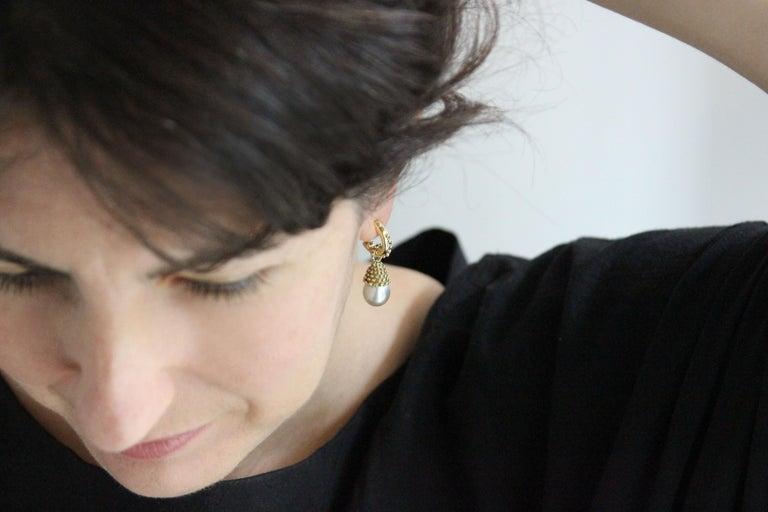 Women's or Men's Julius Cohen Pearl Drop Earrings For Sale