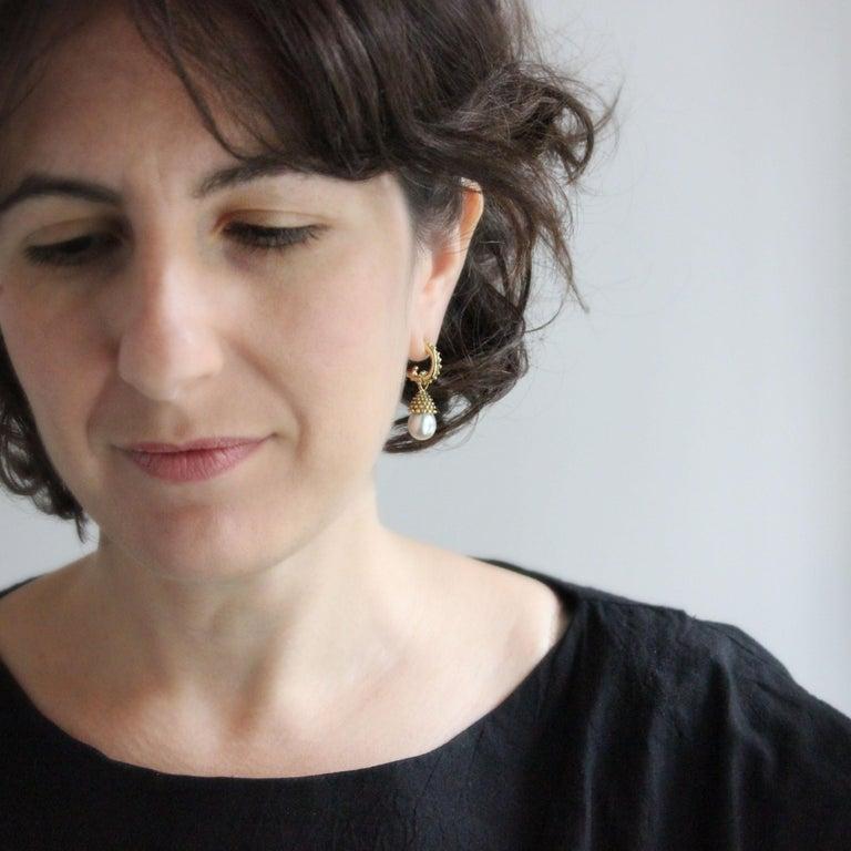 Julius Cohen Pearl Drop Earrings For Sale 1