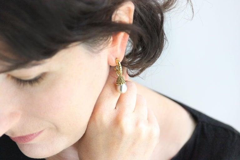 Julius Cohen Pearl Drop Earrings For Sale 2