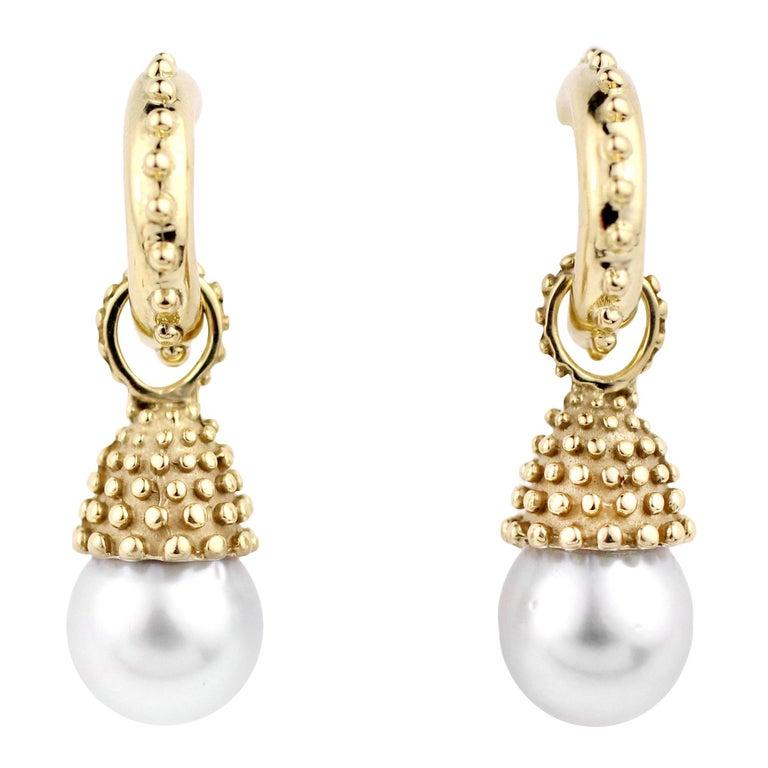 Julius Cohen Pearl Drop Earrings For Sale