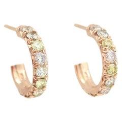 Julius Cohen Rose Gold Multi-Color Diamond Hoops