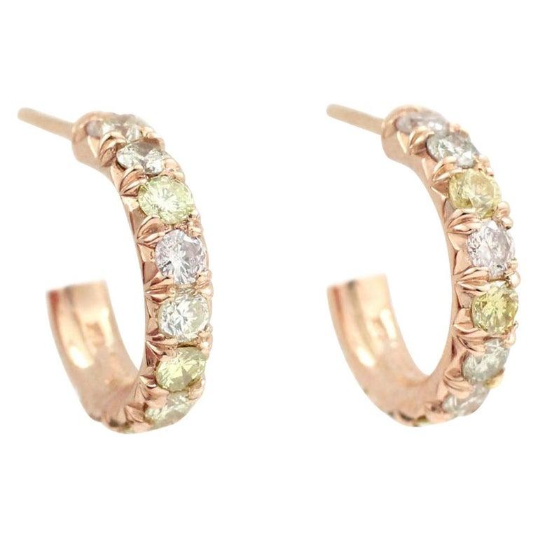 Julius Cohen Rose Gold Multi-Color Diamond Hoops For Sale