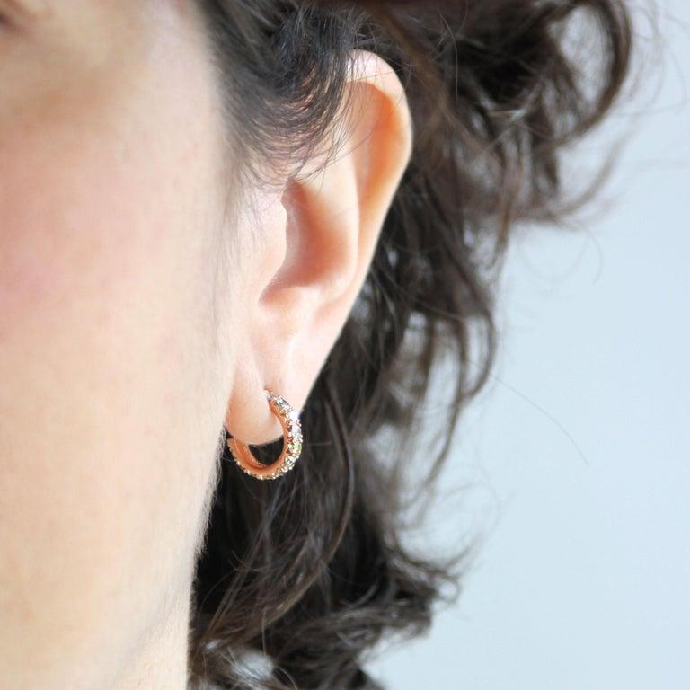 Round Cut Julius Cohen Rose Gold Multi-Color Diamond Hoops For Sale
