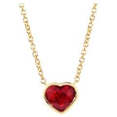 Julius Cohen 2 Carat GIA Certified Ruby Heart Necklace in 18 Karat Gold