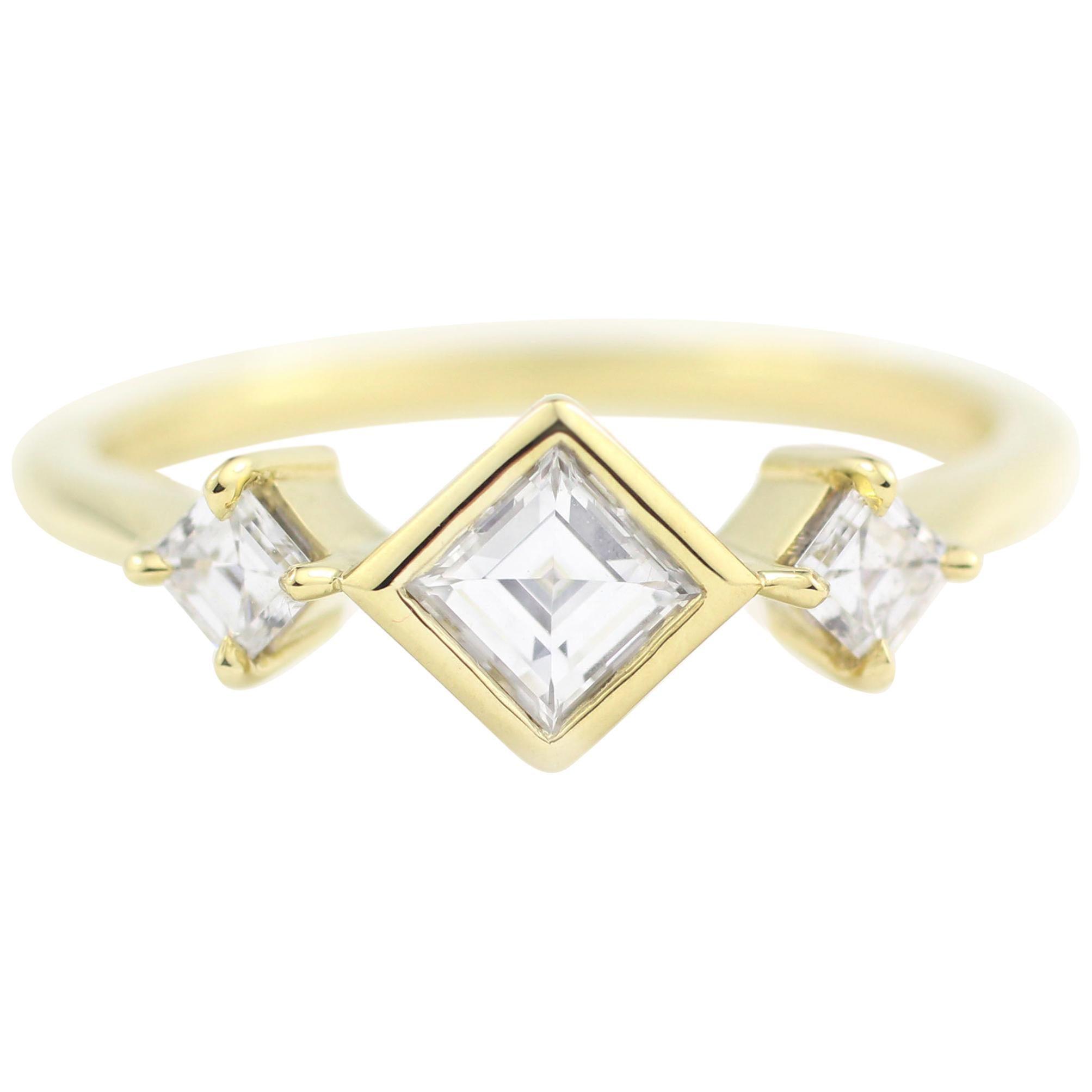 Julius Cohen Square Diamond Ring