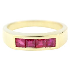 Julius Cohen Square Ruby Ring in 18 Karat Gold