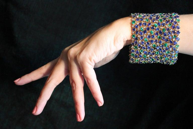 Julius Cohen Wide Diamond Emerald Sapphire Peacock Tapestry Bracelet For Sale 1
