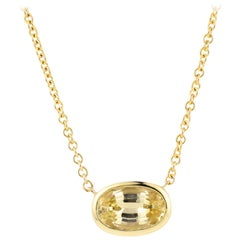 Julius Cohen Yellow Sapphire Pendant Necklace in 18 Karat Gold '2.53 Carat'