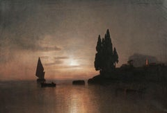 Ship Turning At Sunset Off The Gulf Of Genoa, 19th century