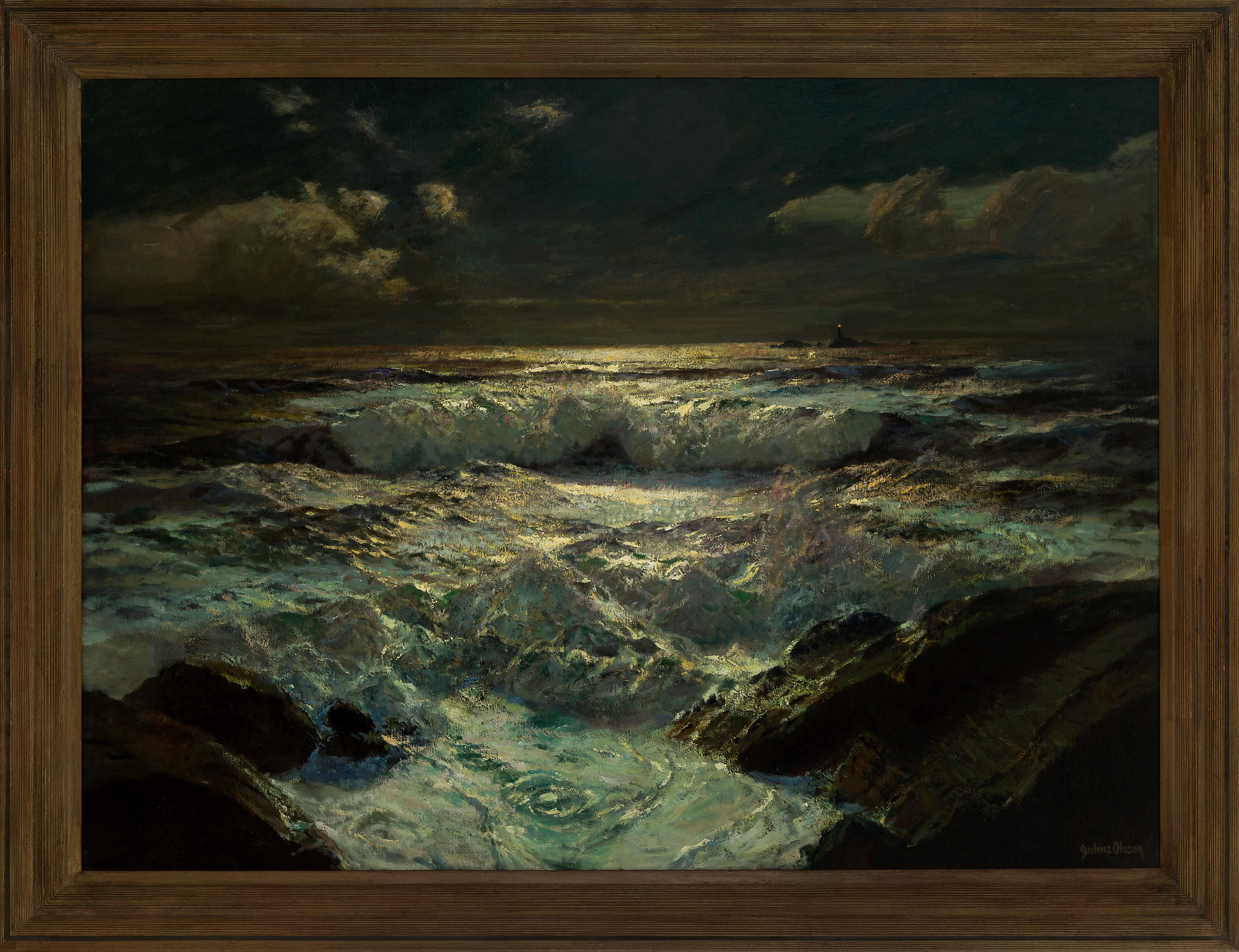 The Longships Light - 20th Century, Oil Paint, Seascape Painting
