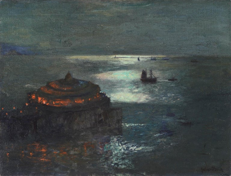 """Julius Olsson  Landscape Painting - """"The Pier, Plymouth - by Moonlight"""""""