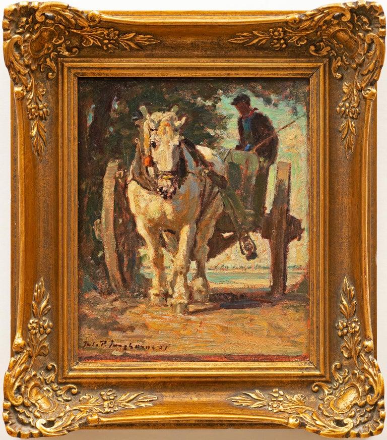 """""""Horse Drawn Carriage"""" Julius Paul Junghanns (German, 1876-1958) - Painting by Julius Paul Junghanns"""