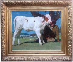 """Cow Painting """"Shepherd with Montbèliarde Calf"""" Julius Paul Junghanns 1934"""