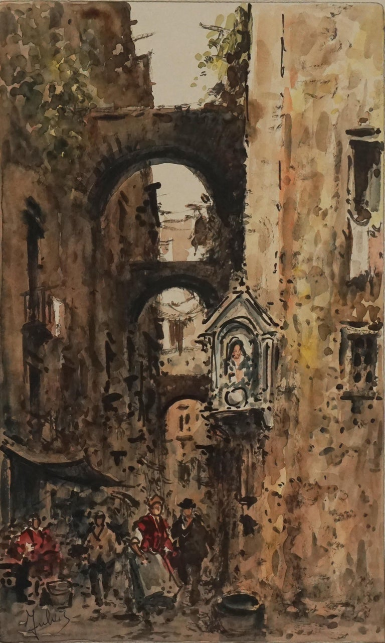 Mid Century Paris Street Scene  - Painting by Julius Rosenbaum