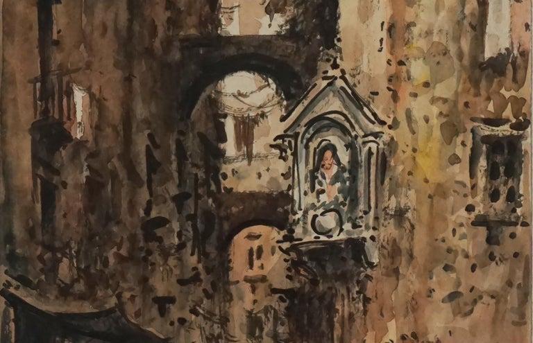 Mid Century Paris Street Scene  - Impressionist Painting by Julius Rosenbaum