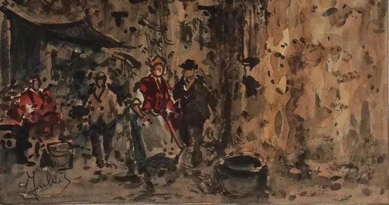 Mid Century Paris Street Scene  - Brown Figurative Painting by Julius Rosenbaum