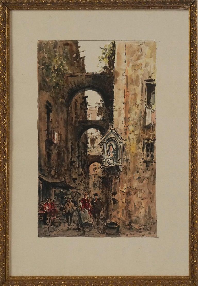 Julius Rosenbaum Figurative Painting - Mid Century Paris Street Scene