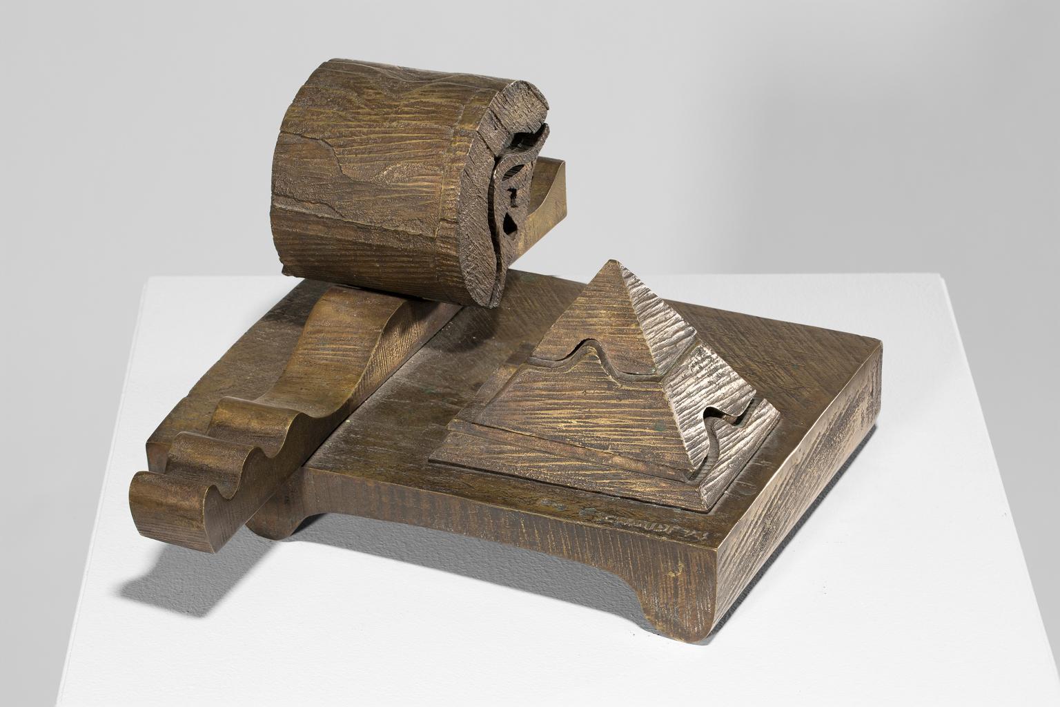 """Untitled"" Cast Iron, Bronze, Futuristic, Geometric, Sepia Tones"