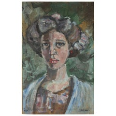"""Julius Schyl, Small Painting of a Woman, """"Eva"""""""