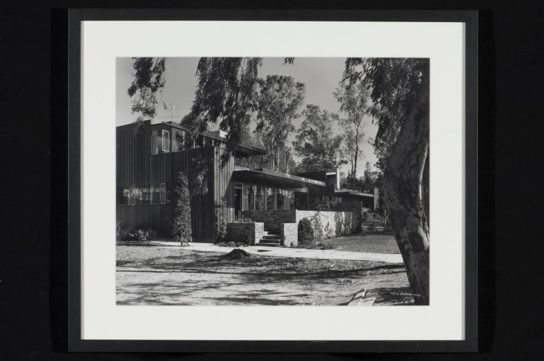 Large and original silver gelatin print by Julius Shulman (American, b. 1910-2009). Print is signed in white ink and dated 1948. This is a very rare and unique print from an exhibit curated by Julius Shulman in 1986 and is not from any editions.