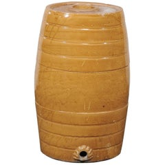 Jumbo 19th Century English Ceramic Whiskey Barrel, Gold Color