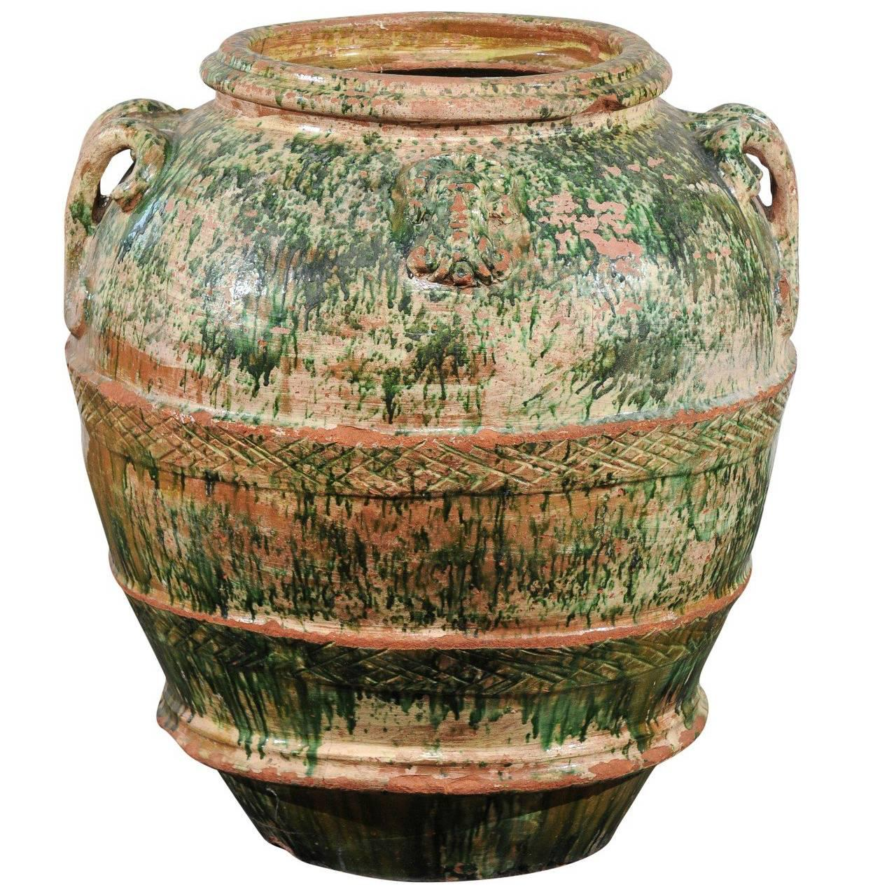 Jumbo 19th Century Italian Green Glazed Pot