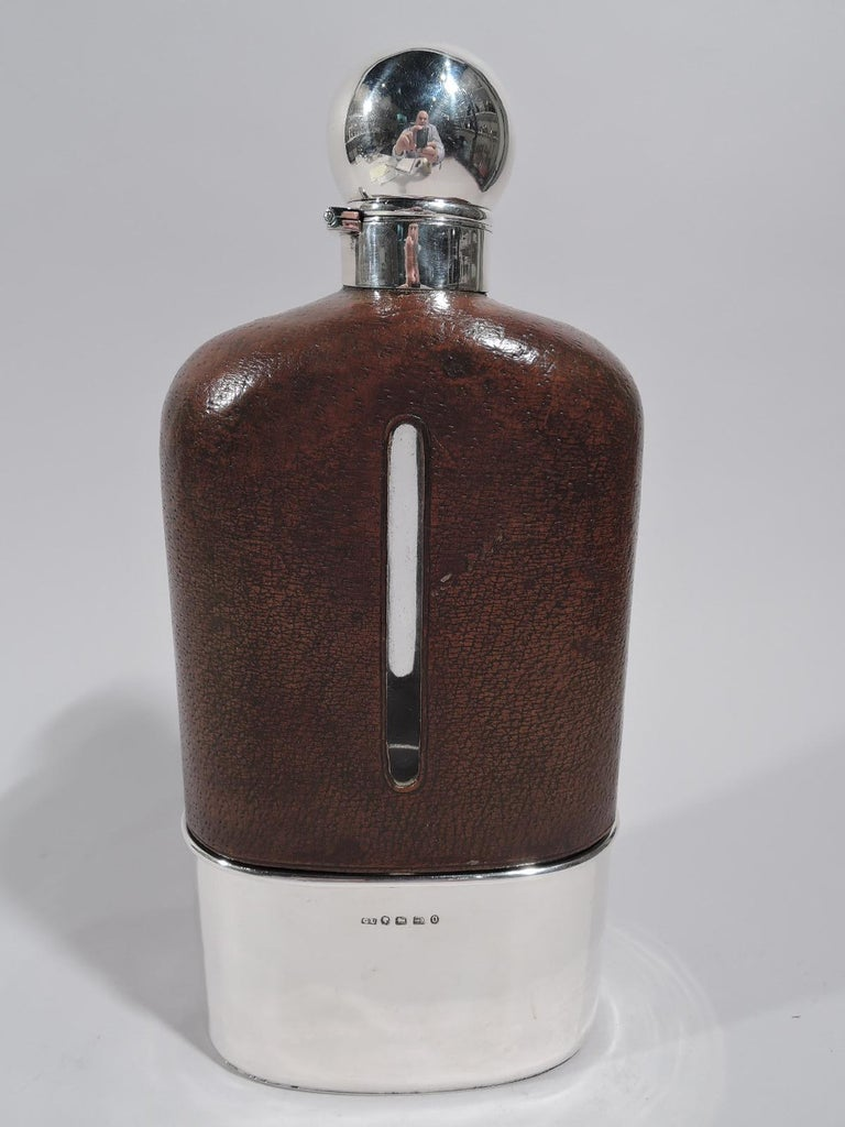 Victorian Jumbo Big Game-Era English Sterling Silver Safari Flask